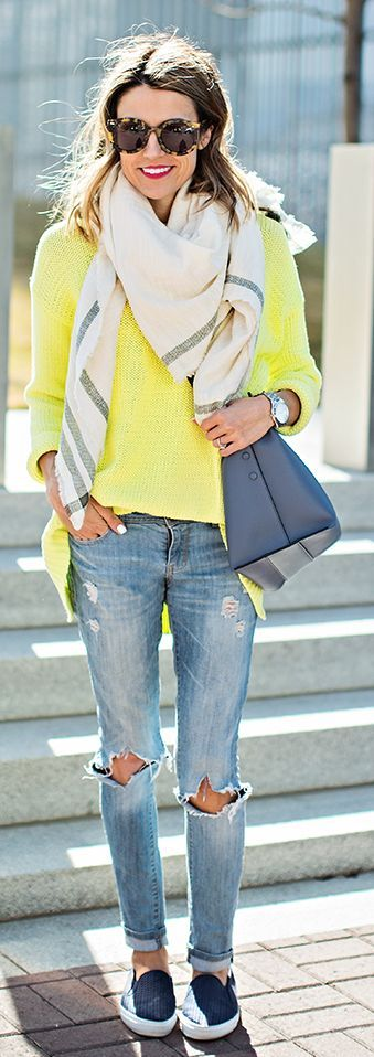 Bright Sweater Outfit by Hello Fashion