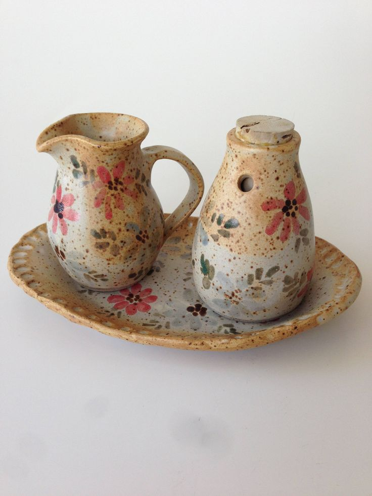 Cream and Sugar Set | Speckled Pottery Sugar Dispenser and Creamer Set with Tray, Artist's Mark, Condiment Set, Southwestern Decor, Table by Jimpiphanys on Etsy