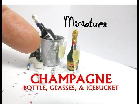 Champagne, Icebucket and Glasses Polymer Clay Dollhouse Miniature Tutorial DIY - YouTube