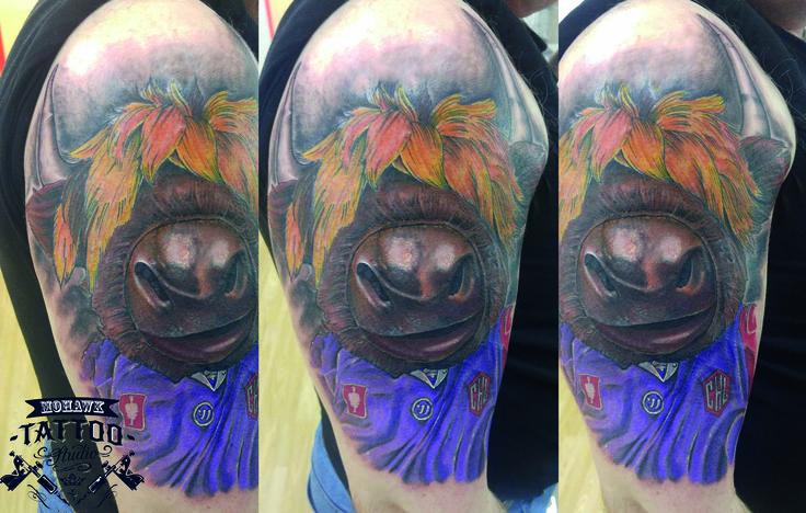 Awesome clangus tattoo by Gary  #tattoo #tattooed #tattoos #tattooart #tattoocommunity #colourtattoo #colourtattoos #cow #highlandcow #mascot #braeheadclan #braehead. #icehockey #colour. #colourtattoo #colourtattoos #bigtattoo #big #largetattoo #upperarm #arm #armtattoo #upperarmtattoo #icehockeymascot #scotland #paisley #cool #cooltattoo #nice #nicetattoo