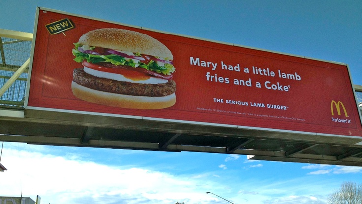 New McDonald's Lamb Burger Billboard In AustraliaDiet Weightloss, Funny Stuff, Funny Food, Nurseries Rhymes, Funny Engrish, Engrish Funny, Weights Loss, Diet Coke, Lambs Burgers