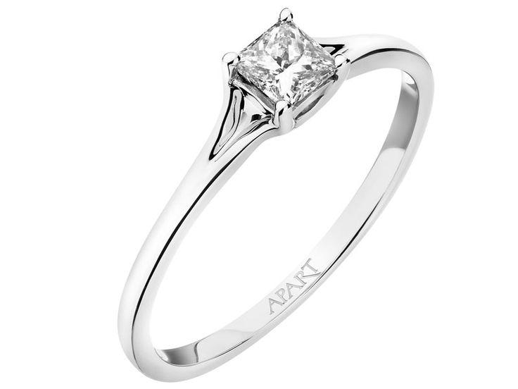 Pierścionek z białego złota z diamentem - wzór 103.466 / Apart