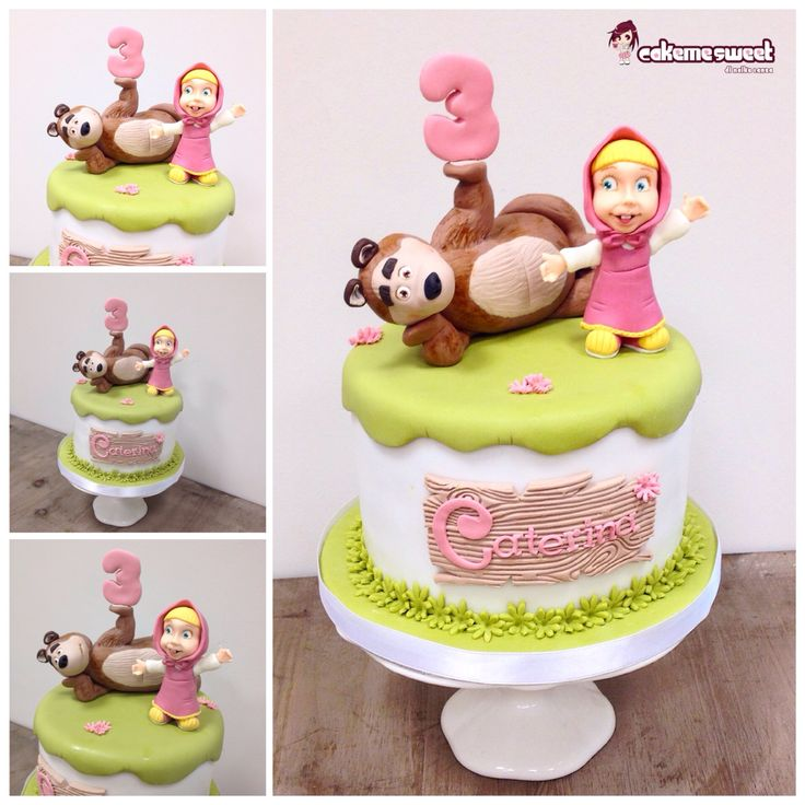 Masha and the bear birthday cake by Cakemesweet di Naike Lanza Www.cakemesweet.com