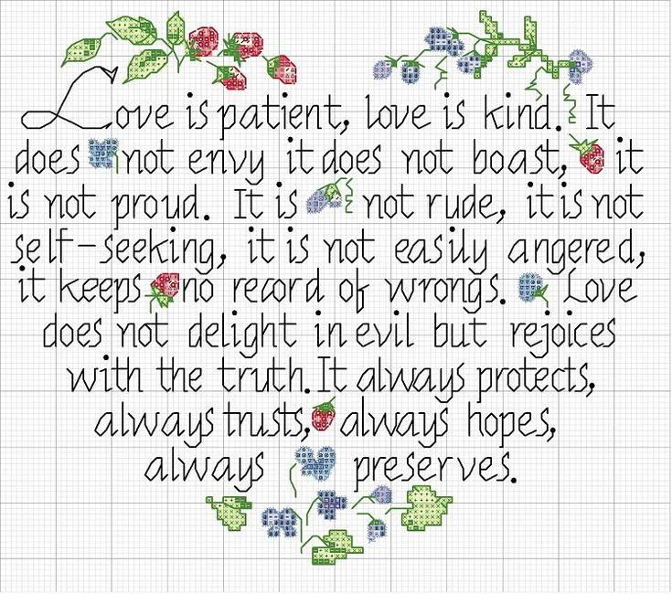 Wedding Reading Love Is Patient: Love Is Patient Cross Stitch -- 1 Corinthians 13