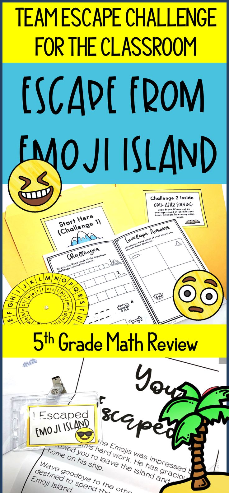 Don't do boring test prep anymore! Let your students escape from Emoji Island using: Multiplication, Division, Fractions, Decimals, Geometry, Problem Solving. This classroom break out / escape classroom challenge is specifically for 5th grade math standards.