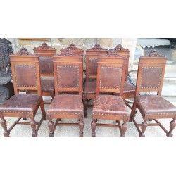 Otto sedie + sedia capotavola in noce massello - Italia Centrale - fine '800