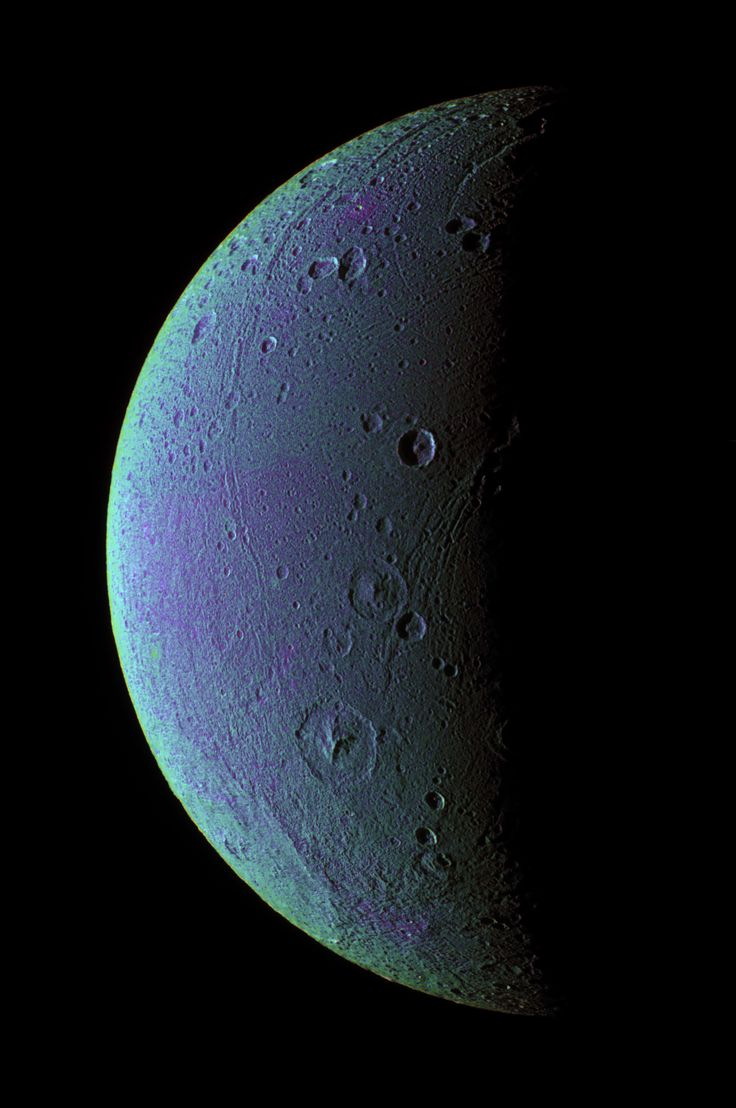 Dione (A moon of Saturn)    This view highlights tectonic faults and craters on Dione, an icy world that has undoubtedly experienced geologic activity since its formation.      Image credit: NASA/JPL/Space Science Institute  Source link: http://www.nasa.gov/images/content/627613main_pia07691-full_full.jpg
