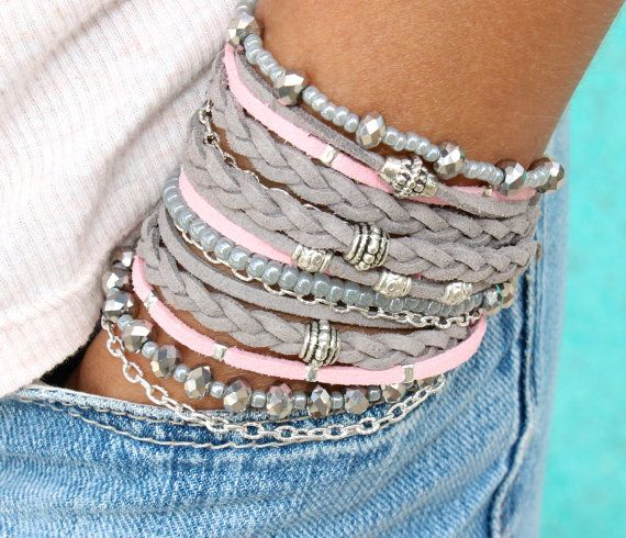 Pick SIZE Grey / Pink Tibetan Chunky Wrap by WrappedinYou on Etsy