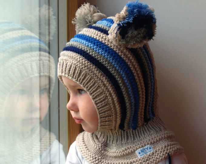 READY TO SHIP sizes: 6-12m. Wool Balaclava Hat, Baby/ Toddler Hoodie hat with Pom Poms, Beige Hat - Neckwarme. Sizes 1-3, 6-10y