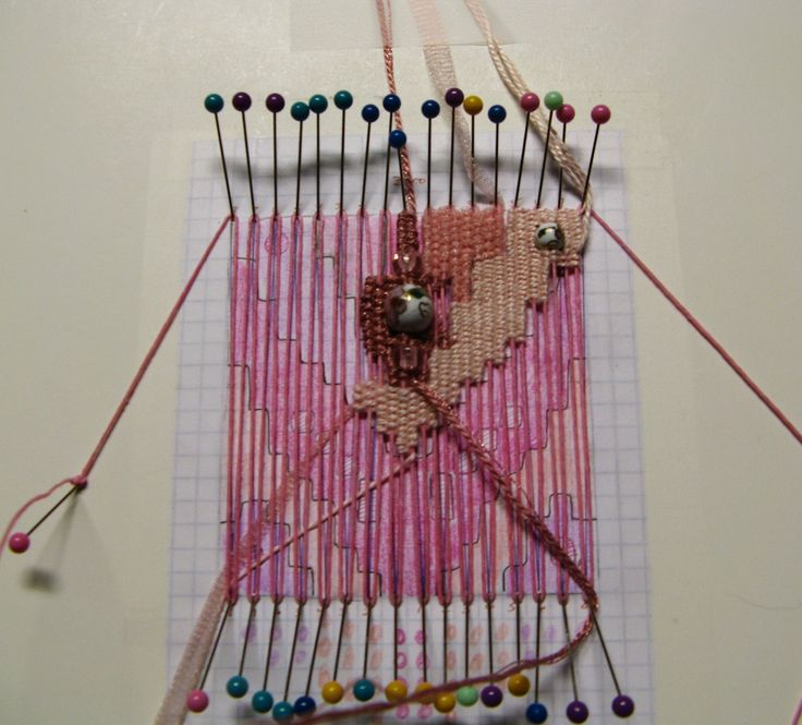 Pin weaving is a simple way of creating a small woven piece without the use of a loom. It is weft faced weaving, that is, the warp thread w...