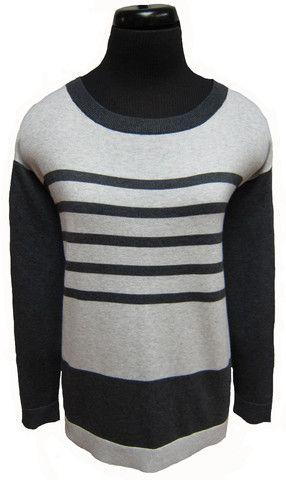 MC-L/S Striped boat neck tunic sweater (92031)