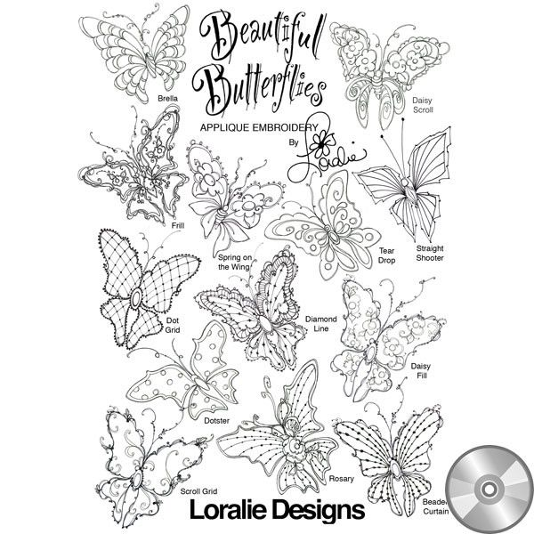 Beautiful Butterflies Embroidery Design Collection | CD