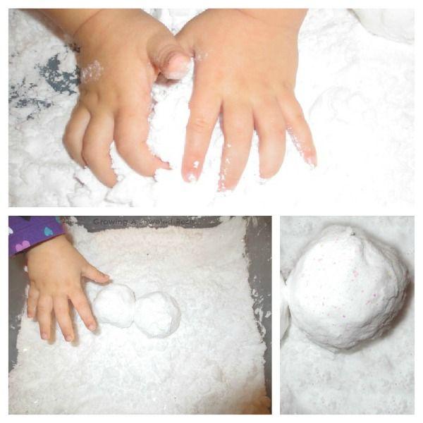 snow recipe- baking soda and shaving cream