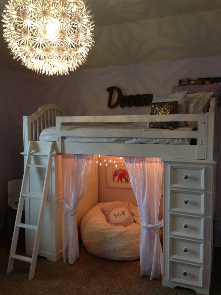 Sheryl Kennedy Meyer ~ Tween Bedroom: Bedding - RH Kids & PB Kids, curtains - PB Kids, Light & chair - IKEA, furry bean bag - Pier 1 Imports, Wall Art - Home Goods & Hobby Lobby.  Paint - RH Kids eco friendly lavender