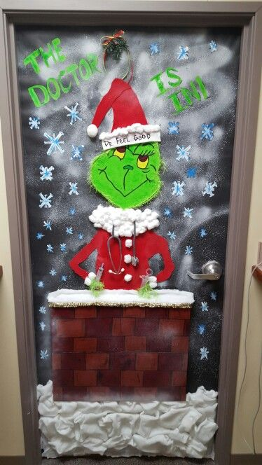 Christmas decorated door for medical office. Dr. FEEL GOOD