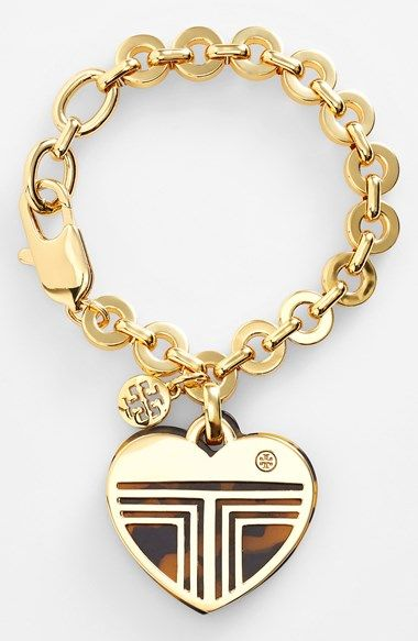Free shipping and returns on Tory Burch 'Adeline' Logo Charm Bracelet at Nordstrom.com. Tory Burch's signature fretwork encases the heart-shaped, faux-tortoiseshell charm boldly swinging from a gilded rolo-chain bracelet.