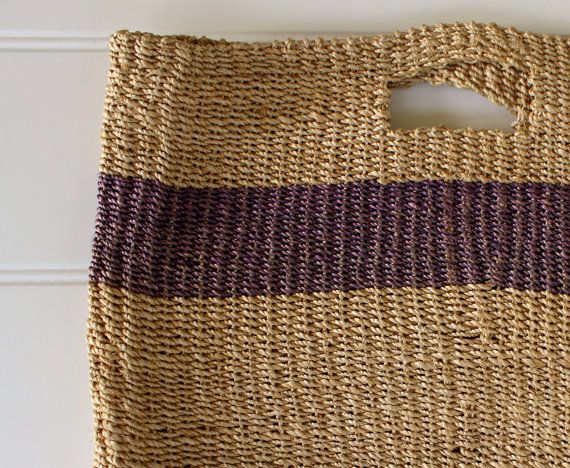 Vintage Tote Bag  Esprit Straw Tote with Handle  by catnapcottage