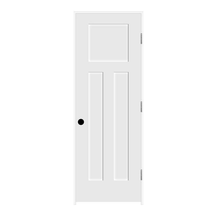 Jeld Wen Craftsman Smooth 3 Panel Primed Molded Prehung Interior Door H85083 At The Home Depot