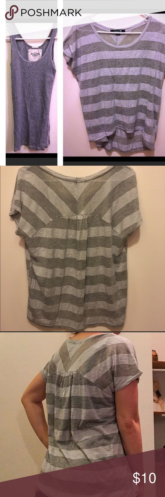 """Casual Top Bundle!!!! Two comfortable casual tops. Tank: gray ribbed stretchy Abercrombie and Fitch tank, size M. Length from shoulder to hem: 25"""". Tshirt: Forever 21 light blue and gray tee, longer in the back, size S. Both of these are insanely comfy!! Abercrombie & Fitch Tops Tees - Short Sleeve"""