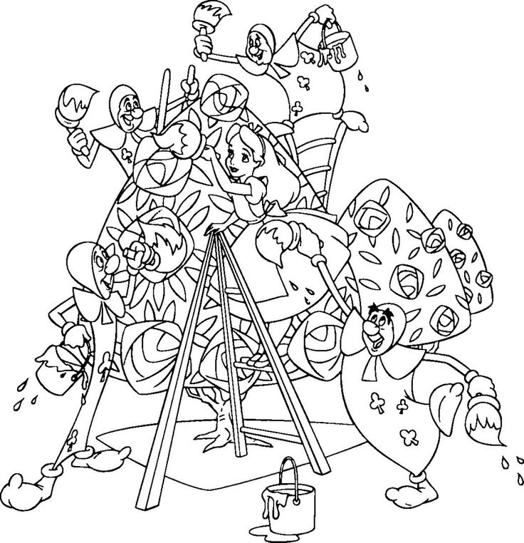 Alice in wonderland coloring pages flowers for kids, printable free - fresh dltk birds coloring pages