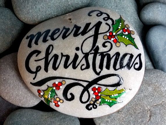 Merry Christmas. Holiday decor. Art on stone.  painted rock (sea stone) from Cape Cod.  This stone is very smooth and tumbled many years in the