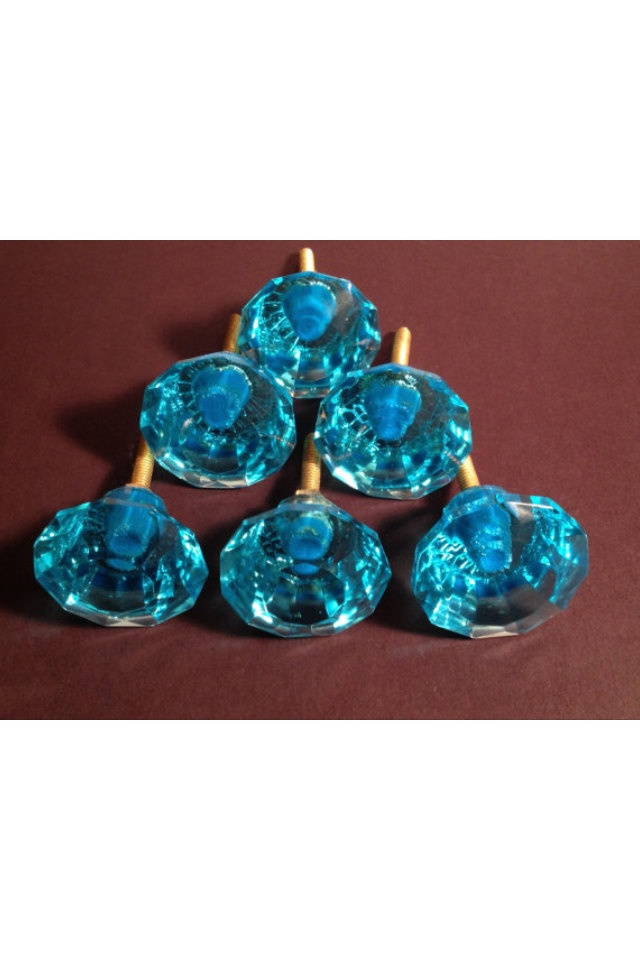 DRAWER PULLS Lot Of 6 Light Blue Glass Drawer Or Cabinet
