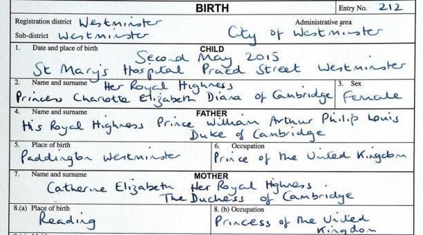 La partida de nacimiento de la princesa Carlota de Inglaterra. Foto: John Stillwell /A FP