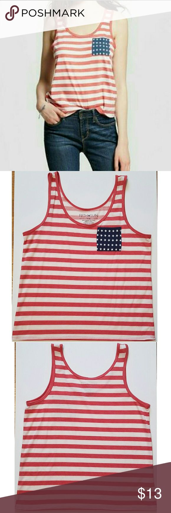Patriotic Tank Top Represent your country while staying cute and stylish in this cute patrotic tank top from Fifth Sun! Perfect for any occasion especially national holidays, and any party; cute enough for even regular days for a chic bold look. Featuring a front chest pocket. Perfect condition worn once.  65% Polyester - 35% Rayon  Made in China Fifth Sun Tops Tank Tops