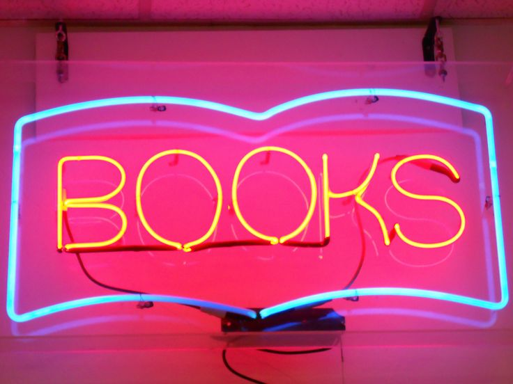 neon signs reading lights books glow colors sign light place happy open southword personal read cool nerd aesthetic booked letters