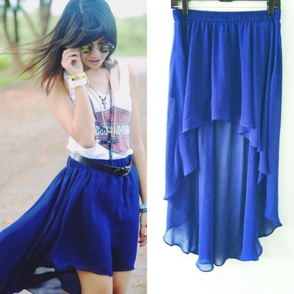 Royal Blue Mullet Skirt Business in the front, party in the back with this adorable, flirty, royal blue mullet skirt. Shorts underneath and front maybe be a little shorter than on the model. Has been worn a couple of times. Forever 21 Skirts