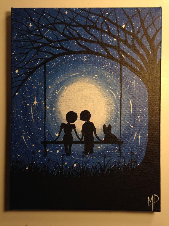 I Wish I May Couple On Swing Painting 9 X 12 Acrylic On