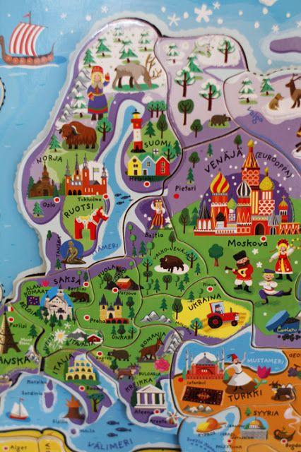 Europe Detail of a fun cute World Map in Finnish by Pikku Varpunen finla