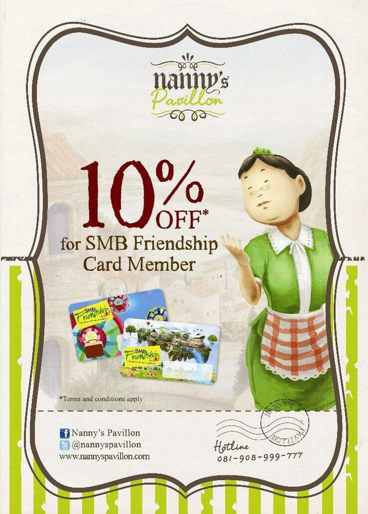 TIme for lunch, Nanny's Lovers! Let's go to Nanny's Pavillon Storage Room - Summarecon Mal Bekasi and get 10% discount for SMB Friendship Card Member.. ;)