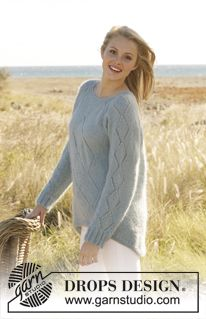 Knitted DROPS jumper with lace pattern and raglan in Alpaca and Kid-Silk. Size: S - XXXL. ~ DROPS Design - free pattern