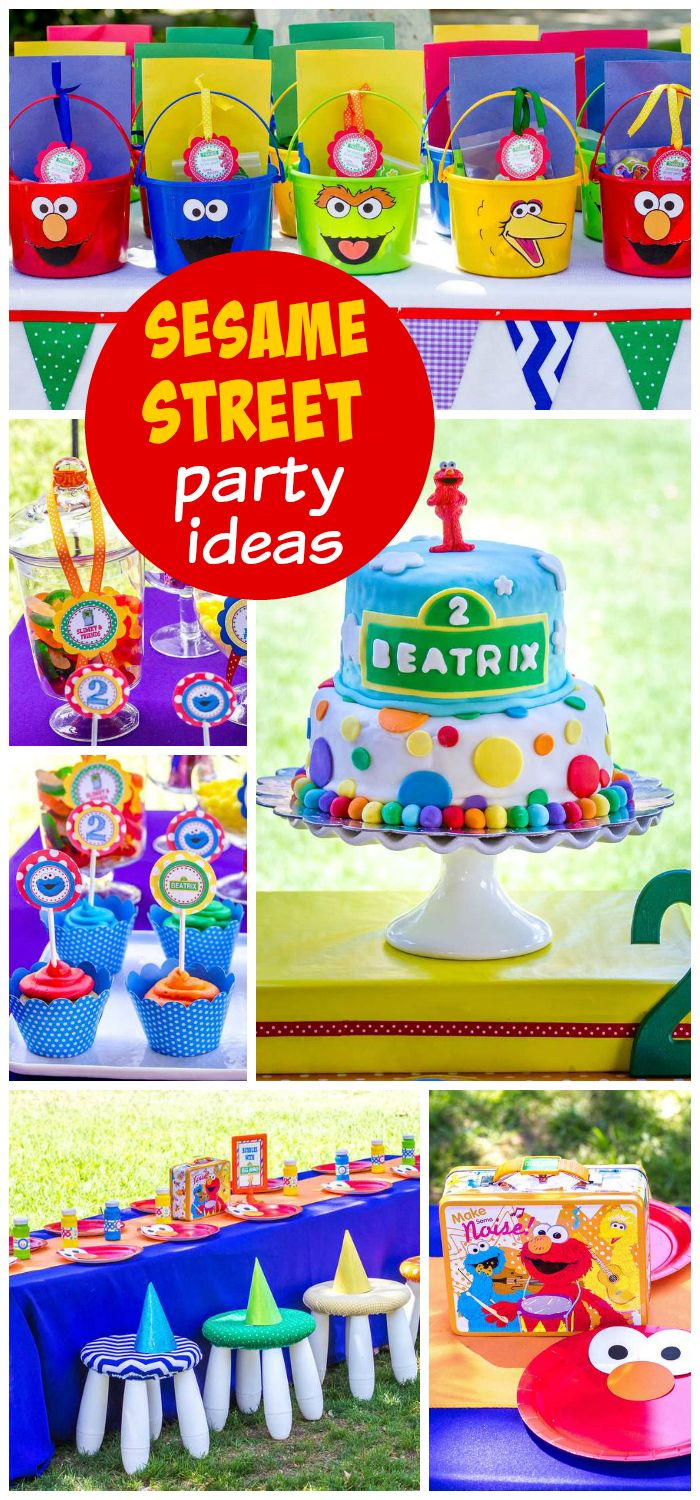 A colorful Sesame Street girl birthday party with fun party decorations and treats!  See more party planning ideas at CatchMyParty.com!