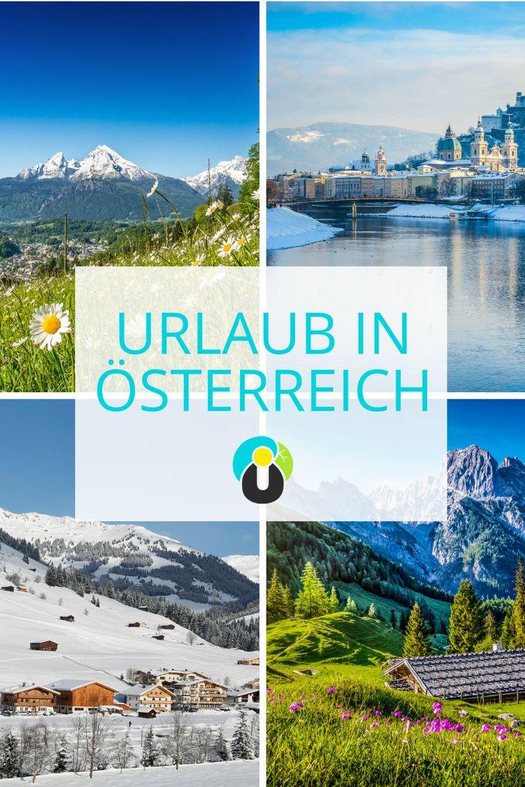 Ein Urlaub in Österreich verspricht Erholung, Action und jede Menge Spaß. Ob mit der ganzen Familie, mit dem Liebsten oder als erholsamer Singleurlaub, Österreich bietet für jeden das Richtige. Kommt mit in die wunderschönen Städte Wien, Salzburg und Hallstatt, erkundet Regionen wie die Steiermark und Tirol, lasst es euch in den schönsten Wellnesshotels Österreichs gut gehen oder erkundet vielseitige Skiregionen in den Alpen.