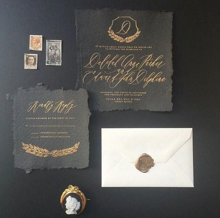 Gold Calligraphy for a darkly decadent event / by Written Word Calligraphy