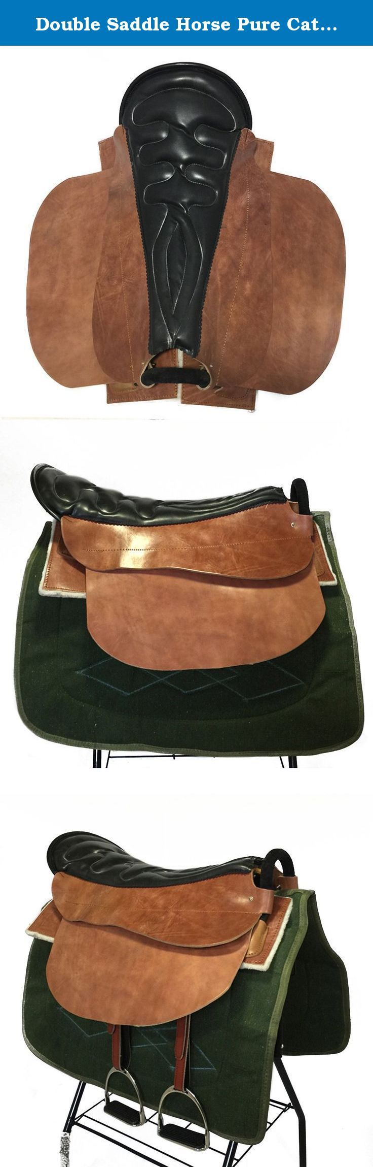 Double Saddle Horse Pure Cattle Leather Equestrian Supplies. Features: High cost performance Manual made of cattle leather Improved from old army saddle Comfortable riding Keep away from wet environment and blazing sun Specifications: Color:yellow brown Material:pure cattle leather,steel frame Size:70cm Suitable to horses of normal stature with over 1.5m shoulder Weight:10kg .