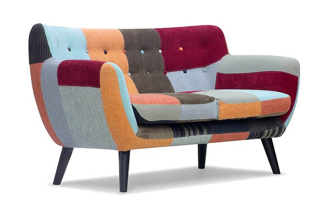 Retro 3 Seater Patchwork Sofa with contrast button detail.