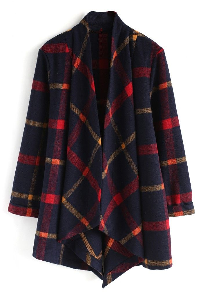 Commander in Chic Checked Wool-Blend Coat- New Arrivals - Retro, Indie and Unique Fashion