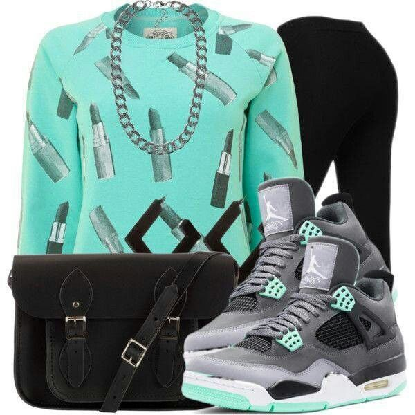 Green jordans, tights, i like, its different