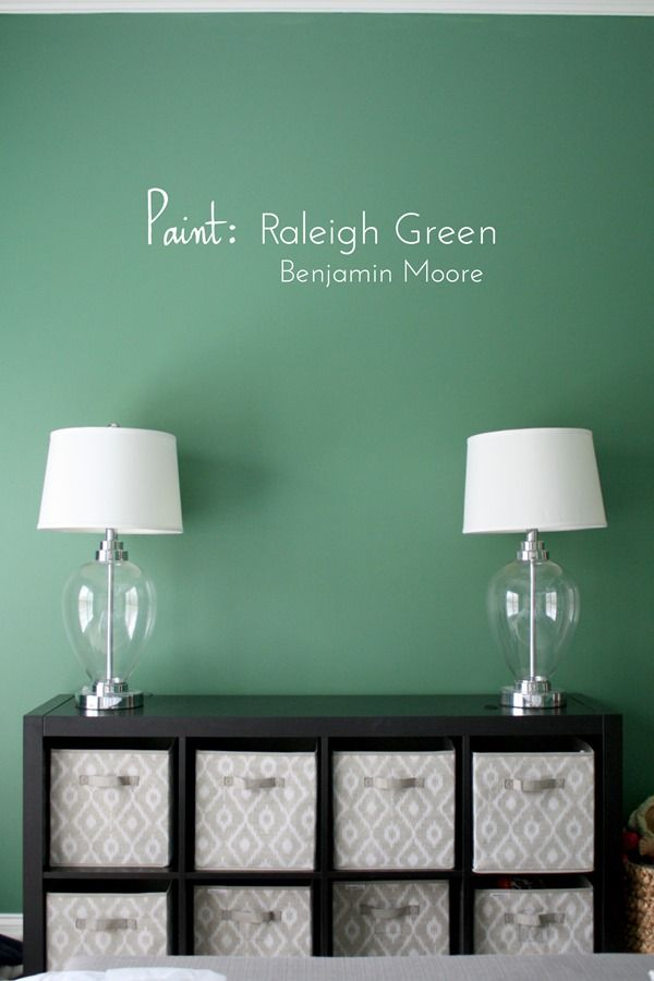 Possibly the perfect green paint: Raleigh Green by @benjamin_moore (twins' shared bedroom)
