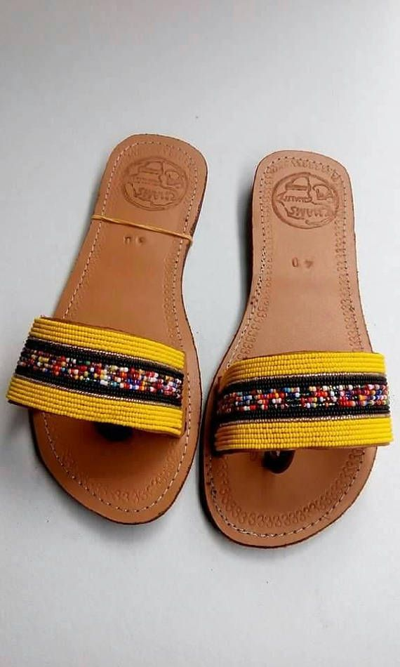 4e4b0375b728f African leather Women Sandals| Beaded sandals| Colorful sandals ...