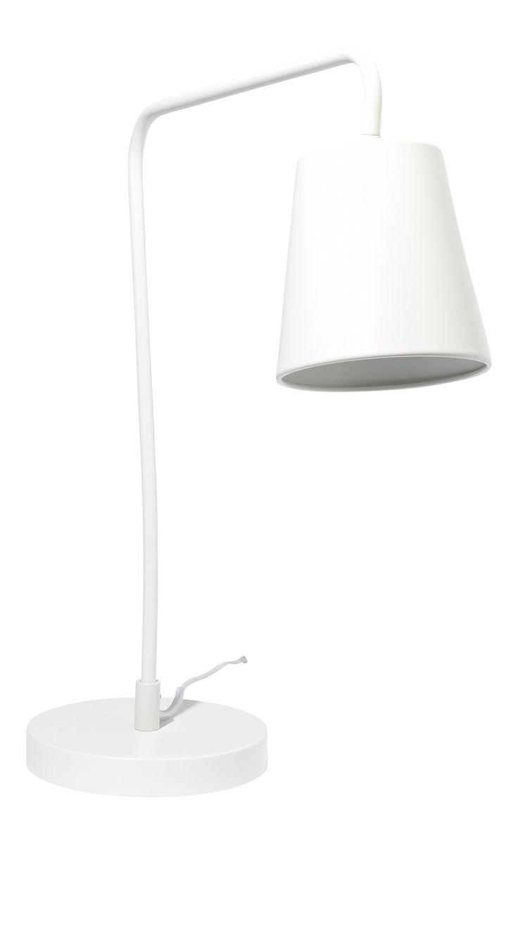 Ascend bordlampe i hvitlakkert stål. Kr. 500,-