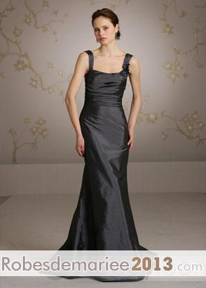 attirante Fleurs Taille Empire Col carré traine Robe demoiselle honneur Blayante