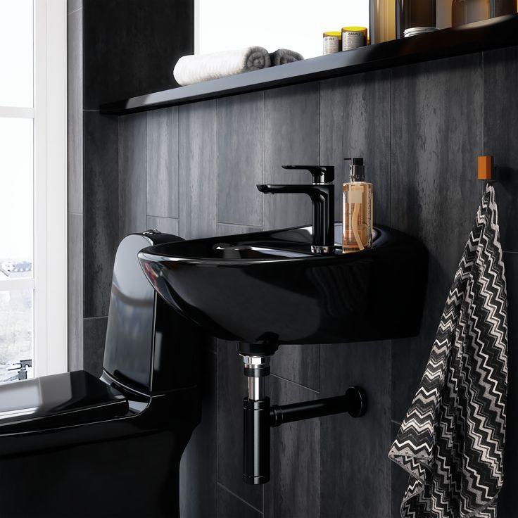Handfat (< 50 cm bredd) från Estetic i svart utförande. Snyggt och stilrent.