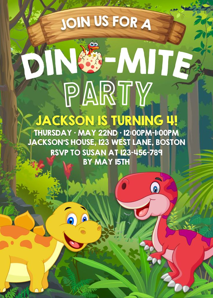 Dinosaur invitation templates editable with ms word in