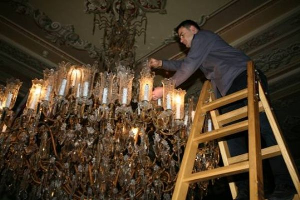 Dolmabahce Palace, Turkey-- Chandelier Repairs-View 1