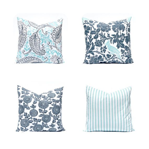 Blue And Gray Throw Pillows Part - 29: Throw Pillow Covers Gray And Aqua Decorative By CompanyTwentySix