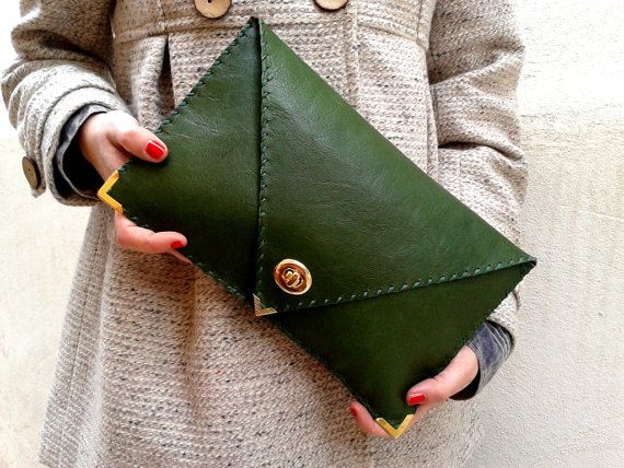 Handmade leather clutch / Dark green leather by AnaKoutsi on Etsy, $83.00